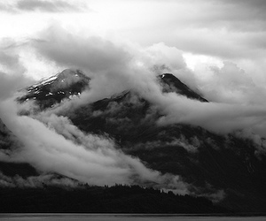 beautiful, black and white, and mountain image