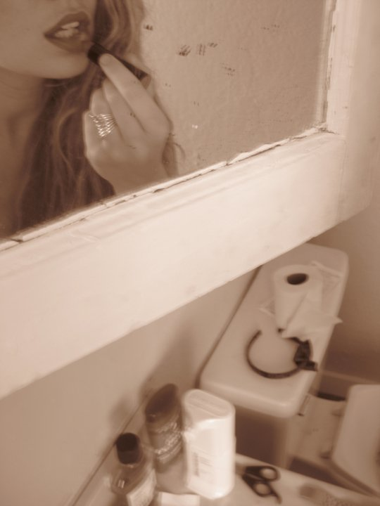 bathroom, red, and sepia image