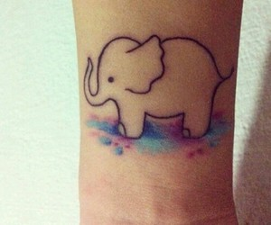 tattoo, elephant, and watercolor image