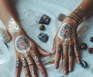 tattoo, hands, and henna image