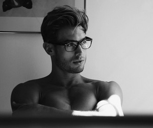 beauty, black and white, and glasses image