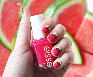 fruit, nails, and pink image