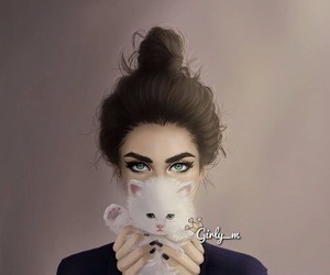 girly_m, cat, and drawing image