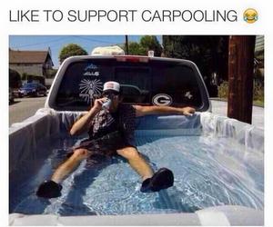 carpooling, pool, and summer image