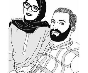 black and white, couple, and doodle image