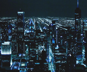city, light, and blue image