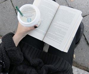 book, starbucks, and black image