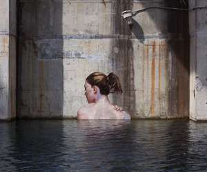 art, water, and woman image
