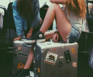 girls, trip, and travelers image