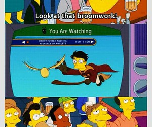 harry potter, quidditch, and simpsons image