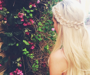 blonde, braid, and flowers image