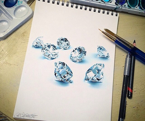 art, diamonds, and draw image