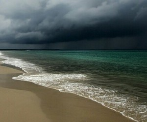 beach, thunder, and clouds image