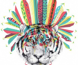 tiger, hipster, and wallpaper image