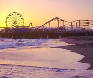 beach, sunset, and santa monica image
