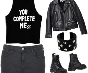 black, Polyvore, and t-shirt image