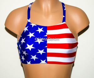 tank top, festival fashion, and american flag bikini image
