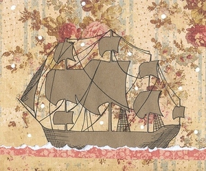 ship, boat, and floral image