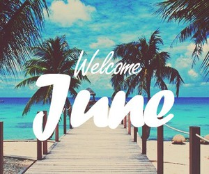 june, summer, and beach image