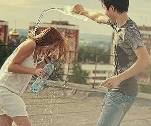 love, couple, and water image