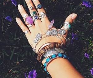 rings, bracelet, and boho image