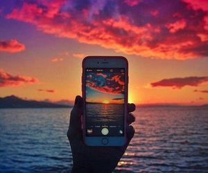 iphone, sunset, and sea image