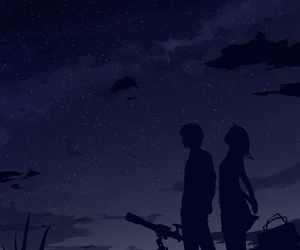 anime, stars, and night image
