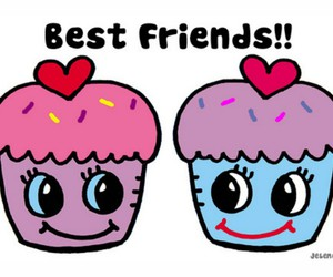 best friends, friends, and cupcake image