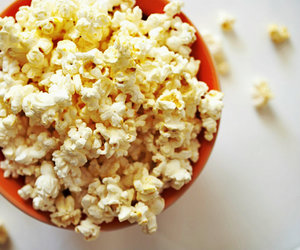 bowl, corn, and popcorn image