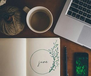 june, coffee, and book image
