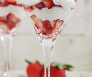 strawberry, cream, and food image
