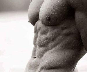 abs, black and white, and fit image