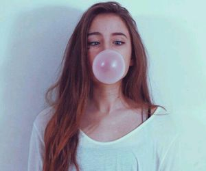 girl, hair, and bubblegum image