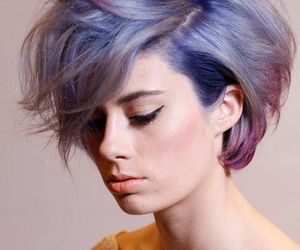 hair, purple, and short hair image