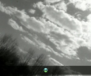 black and white, sky, and clouds image