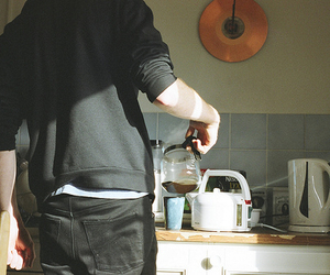 boy, coffee, and morning image
