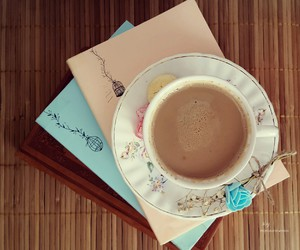 blue, books, and coffee image