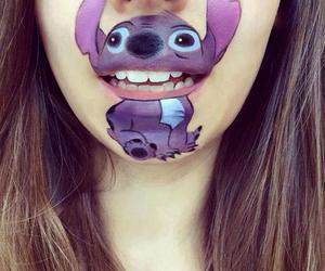 lips, stitch, and art image