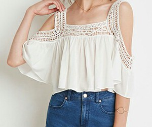 shorts, off shoulder blouse, and white shirt blue jeans image