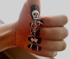 nails, skeleton, and nail art image