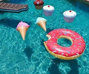 summer, pool, and donuts image
