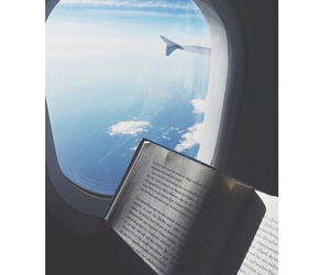book, airplane, and fly image