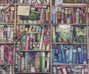 books, colors, and puzzel image