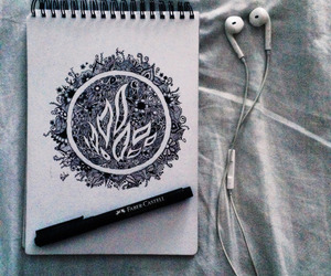 divergent, drawing, and fire image