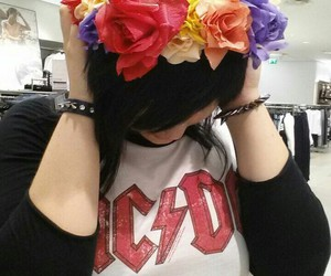 ac dc, black, and flower image