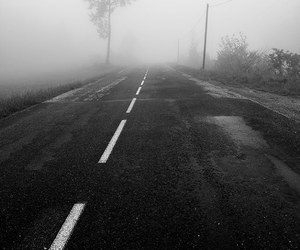 black and white, loneliness, and road image