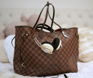 bag, headphones, and Louis Vuitton image