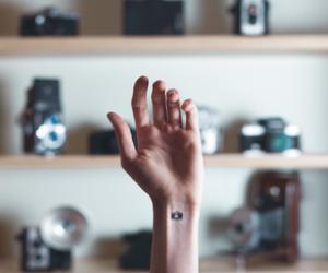 tattoo, camera, and hand image