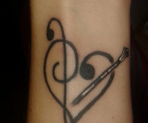 heart, music, and tattoo image