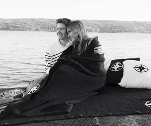 beach, black and white, and love image